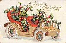 Buy A Happy Christmas Holly Covered Car Embossed Vintage Postcard