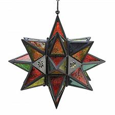 Buy 34690U - Moroccan Style Star Hanging Candle Lantern Multi-Color Glass Panels