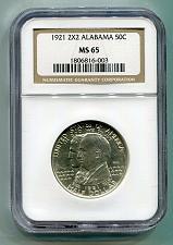 Buy 1921 2x2 ALABAMA CENTENNIAL NGC MS65 WHITE NICE ORIGINAL COIN FROM BOBS COINS