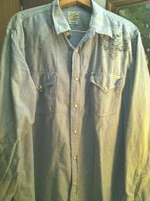 Buy Men`s XL Lucky Brand Snap Button Down Light Blue Western Snap Button Down Shirt