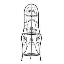 Buy *15469U - Trellis Inspire Leaf Black Metal Corner Baker's Shelf Design