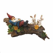 Buy *18772U - Sleeping Gnome Bunnies On Log Solar Statue Garden Yard Art