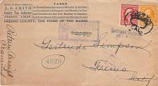 Buy 1912 Registered Cover Fresno CA. Tax Assessment Unclaimed Auxillary Markings