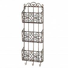 Buy *15958U - Vintage Charm Triple Basket Black Metal Wall Rack 3 Hooks