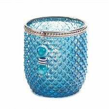 Buy *16798U - Dominion Diamond Cut Blue Glass Votive Candle Holder