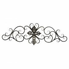 Buy *18766U - Cross Iron Scrollwork Wall Plaque