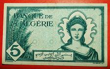 Buy ★ WAR ISSUE: ALGERIA ★ 5 FRANCS 1942! ALLIED OCCUPATION! LOW START! NO RESERVE!