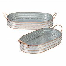 Buy *18833U - Oblong Galvanized Metal Tray Duo
