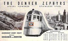 Buy The Denver Zephyrs Burlington Route Chicago to Denver Railroad Postcard