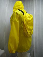 Buy Windbreaker Rain Jacket with Built In Attached Backpack Mens S Yellow RARE