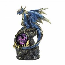 Buy *18618U - Blue Dragon On Rocks Statue Purple LED Light
