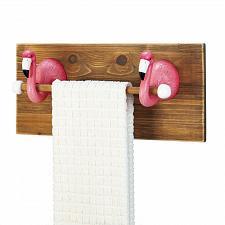 Buy *18232U - Pink Flamingo Kitchen Bath Wood Towel Holder