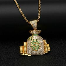 Buy Elvis Presley Dollar Bag NY 1972 Concert TCB Gold Plated Chain Necklace Pendant