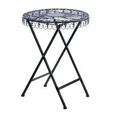 Buy *16829U - Fleur-De-Lis Design Round Black Iron Patio Table