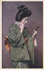 Buy Japan circa.1920's - Tokyo Geisha SAKAE (Prosperous Destiny) Looking In Mirror