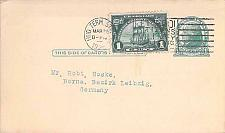 Buy 1925 UX27 Postal Card to Germany with 1c Huegonot Franking