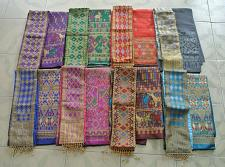 Buy Lot 8 Lao Laos synthetic silk fabric for Clothing sinh Skirt + Pha bieng Beads