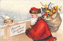 Buy Santa Clause, Gifts and Child, A Merry Christmas Embossed Vintage Postcard