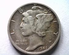 Buy 1945-S MICRO S MERCURY DIME VERY FINE VF NICE COIN FROM BOBS COIN FAST SHIPMENT