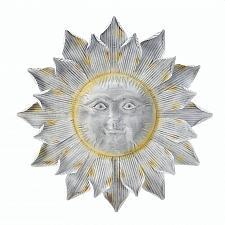 Buy *17912U - Shimmering Silver Smiling Sun Plaque Wall Art