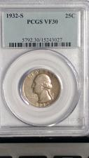 Buy 1932-S WASHINGTON QUARTER. KEY DATE. PCGS. VF-30. LOOK UNDER GRADED.