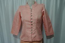Buy Salmon Pink Lao Laos Long Sleeve synthetic silk Blouse Tops US size 2 S
