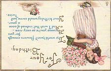 Buy For Your Birthday (Wishes) Young Girl Embossed Vintage Postcard