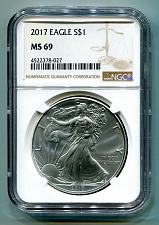Buy 2017 AMERICAN SILVER EAGLE NGC MS69 NEW BROWN LABEL AS SHOWN PREMIUM QUALITY PQ
