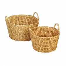 Buy *18774U - Round Hyacinth Straw Wicker Basket 2pc Set Duo