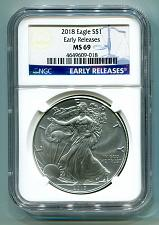 Buy 2018 AMERICAN SILVER EAGLE NGC MS69 CLASSIC EARLY RELEASES BLUE LABEL, AS SHOWN