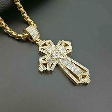 Buy Elvis Presley Maltese Big Cross Concert TCB Gold Plated Chain Necklace Pendant