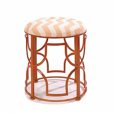 Buy *16182U - Chic Chevron Orange Openwork Iron Frame Padded Stool