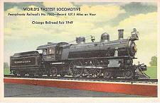 Buy World's Fastest Locomotive Chicago Railroad Fair 1949 Unused Vintage Postcard