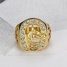 Buy Elvis Presley TCB Horseshoe Concert Crystal 1950's Gold Plated S 9-15 Mens Ring