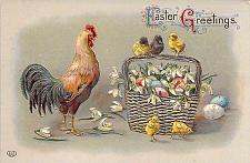 Buy Easter Greetings Rooster, Chicks with Eggs in Basket Embossed Vintage Postcard