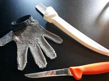 "Buy Whiting + Davis A515 Stainless Steel cutting Glove Med + f dick 6"" knife&sheath"