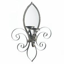 Buy *16157U - Fleur-De-Lis Mirrored Wall Sconce Pillar Candle Holder