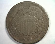 Buy 1866 TWO CENT PIECE VERY GOOD+ VG+ NICE ORIGINAL COIN FROM BOBS COINS FAST SHIP