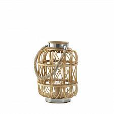 "Buy *16940U - Small 10-3/4"" Woven Rattan w/Hurricane Glass Candle Lantern"