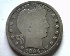 Buy 1894 BARBER QUARTER DOLLAR GOOD G NICE ORIGINAL COIN FROM BOBS COINS FAST SHIP