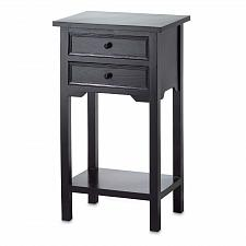 Buy 36643U - Black Finish Wood Accent Side Table 2 Drawer 1 Shelf