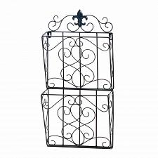 Buy *18404U - Fleur-De-Lis 2-Tier Black Iron Magazine Wall Rack