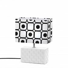 Buy *15531U - Geometric Weave Look Rectangle Ceramic Table Lamp Black Dot Shade