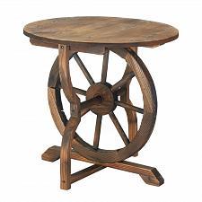 Buy *17257U - Wagon Wheel Fir Wood Round Top Table Indoor/Outdoor Furniture