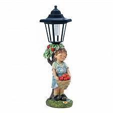 "Buy *18275U - Little Boy Apple Basket Figure 14"" Solar Light Garden Statue"