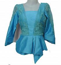 Buy Sky Blue Lao Laos Long Sleeve Silk Blouse Lace Square Neckline Size S