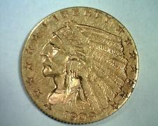 Buy 1909 2 1/2 DOLLAR INDIAN GOLD EXTRA FINE / ABOUT UNCIRCULATED XF/AU NICE EF/AU