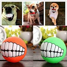 Buy Funny Pets Dog Puppy Cat Ball Teeth Toy PVC Chew Sound Dogs Play Fetching Squeak