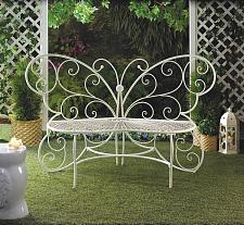 Buy *15688U - White Metal Butterfly Shaped Loveseat Garden Bench