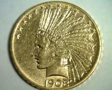 Buy 1908-D MOTTO TEN DOLLAR INDIAN HEAD GOLD CHOICE ABOUT UNCIRCULATED++ CH AU++